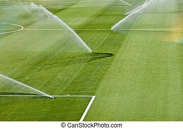 irrigation turf of Rosaleda stadium, Malaga, Spain