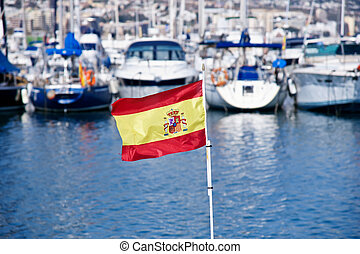 Fuengirola port - spanish flag in Fuengirola port, Spain