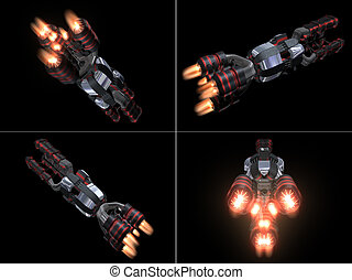 Four Back Views of Black and Red Space Ship