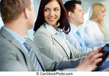 Business education - Young and positive business people...