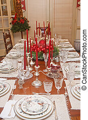Silver Candleabras and Crystal on Christmas table - A china,...