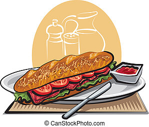 sandwich french baguette with tomatoes and meat