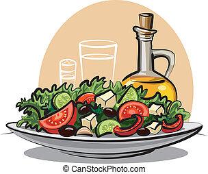 fresco, vegetal, ensalada, aceituna, aceite