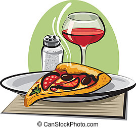 hot pizza and wine