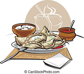 dumplings with sauce and sour cream