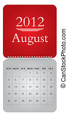 monthly calendar for 2012, August