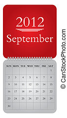 monthly calendar for 2012, September