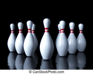 Bowling pin on the dark background