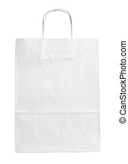 white paper bag - close up of a white paper bag on white...