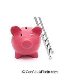 Building your savings - A pink piggy bank with a ladder...