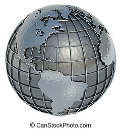 World - The Planet Earth made of metal on a white...