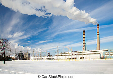 power plant - city power plant in a winter season