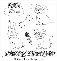 Pets and accessories to color - set of drawings of domestic...
