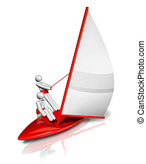 Sailing 3D symbol - three dimensional sailing symbol,...