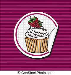 blackberry cupcake cartoon sticker