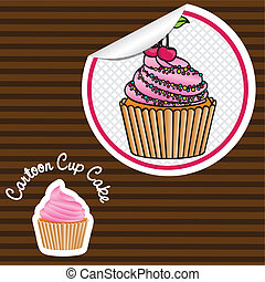 cherry cupcake cartoon sticker