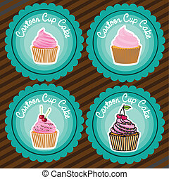set of labels of cupcakes