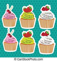 set of stickers cupcakes