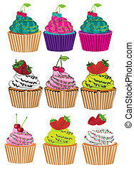 set of six different styles cupcakes