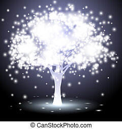 tree made of lights - Abstract tree made of lightsVector...