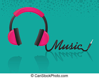 Music headphones - headphones forming the word music,...