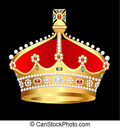 gold(en) royal crown with pearl - illustration gold(en)...