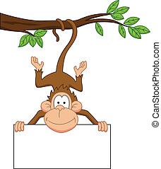 Monkey cartoon with blank sign