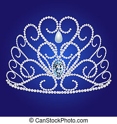 diadem feminine wedding on we turn blue background