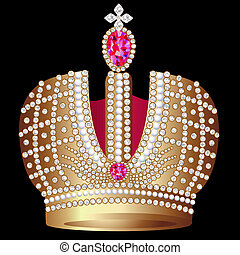 golden royal crown with ruby - illustration golden royal...