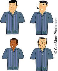 retro men in bowling shirts