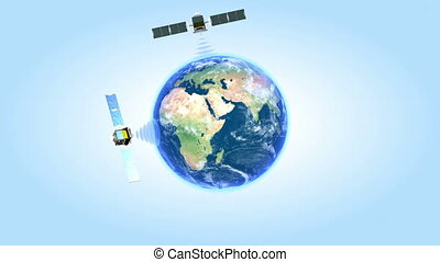 Satellites network Looped animatio - Three satellites...