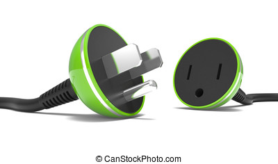 electric power cable, plug and socket unplugged on a white...