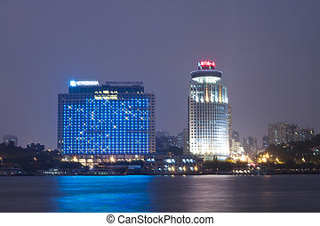 Xiamen downtown district night view in China