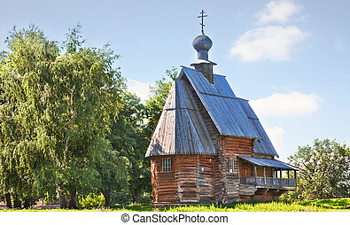 The traditional russian wooden church for tourists in the...
