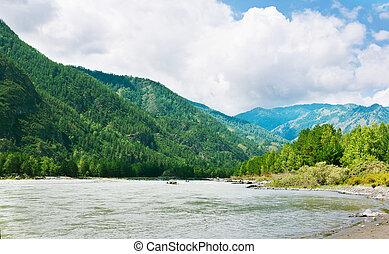Mountains river with rocky riverside. Katun, Altai, Siberia