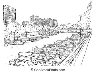 Embankment of the river with the ships. Vector illustration...