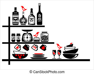 wall stickers black and red kitchen shelves - wall sticker...