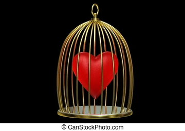 Red heart in golden cage on a black background