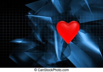 Beating heart on abstract background