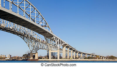 Bridge over a River - Image of the Bluewater Bridge crossing...