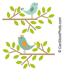 Spring birds - Couple of birds singing spring song. Vector...