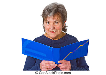 Female senior looking at statement of account - isolated on...