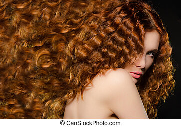 horizontal portrait of woman with red hair