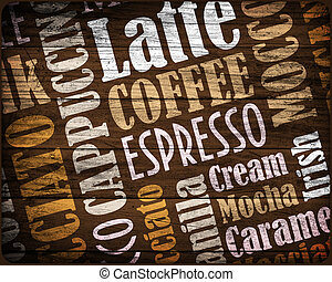 cooffe background - sorts of coffee background on a wood