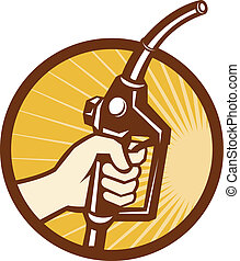 Hand Holding Gas Fuel Pump Nozzle - Illustration of a hand...