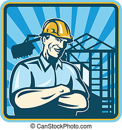 Construction Engineer Foreman Worker - Illustration of a...