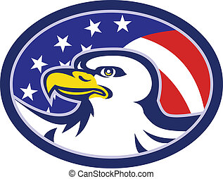 American Bald Eagle Stars Stripes Flag - Illustration of an...