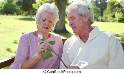 Mature couple holding a rose while sitting on a park bench