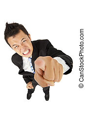angry asian young  businessman pointing