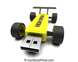 High-speed USB flash drive on a white background.